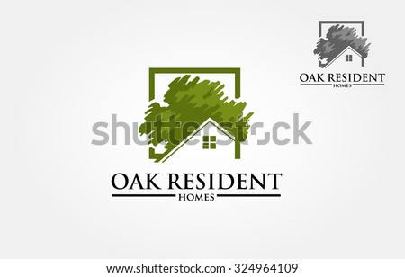 Vector logo design template of oak tree and house that made from a simple scratch. it's good for symbolize a property or housing business.  - stock vector