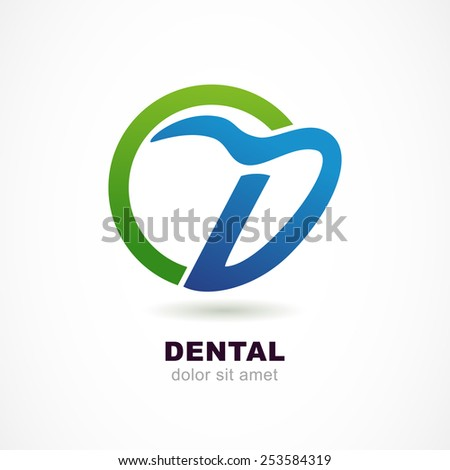 Vector logo design template. Tooth icon, abstract letter D symbol. Dental clinic, medicine concept. - stock vector