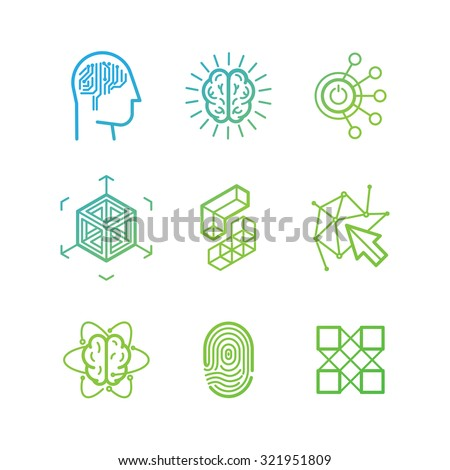 Vector logo design templates and icons in trendy linear style - virtual reality, brainstorming, three-dimensional projection, new media art - abstract technology concepts - stock vector