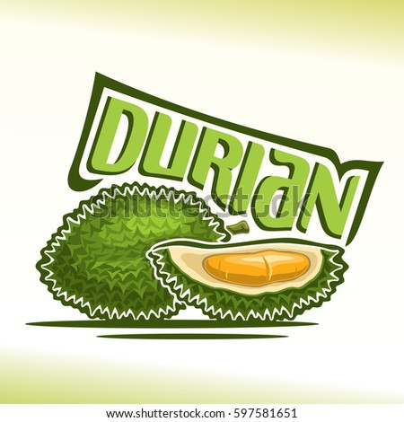 Vector logo Durian Fruit: still life of 2 green fresh thai durians, sliced quarter exotic fruit with flesh of bad smell, abstract icon asian king of fruit with title text for label, isolated on white.