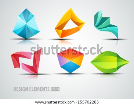 Vector logo elements. Modern origami icons. Colorful shapes. Design elements.