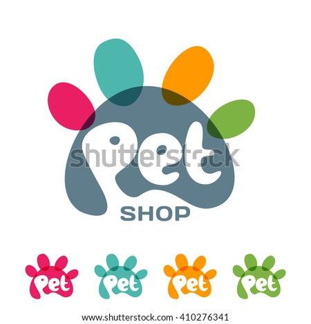 Vector logo, emblem, label design elements for pet shop, zoo shop, pets care and goods for animals. Hand drawn lettering in paw shape. Pet store signboard concept    - stock vector