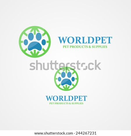 Vector logo footprint of an animal - stock vector