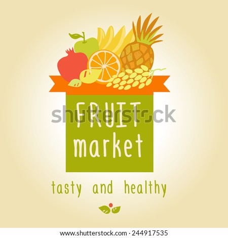 Vector logo for a market of fruits, fruit juice labels. Guaranteed quality and fresh fruit. - stock vector