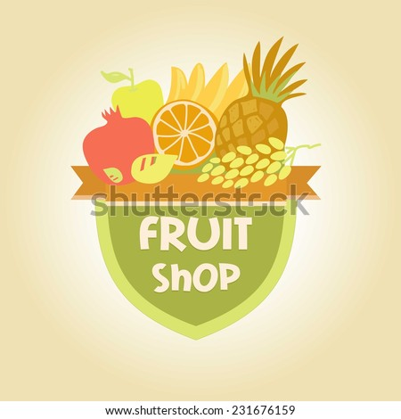 Vector logo for a store of fruits, fruit juice labels. Guaranteed quality and fresh fruit. - stock vector