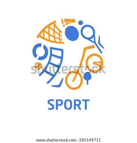 Vector logo for children's sports school, club, shop for sports, competition sports. Silhouettes of a man sporting equipment. Various sports. The symbolism, conceptual and brevity. - stock vector