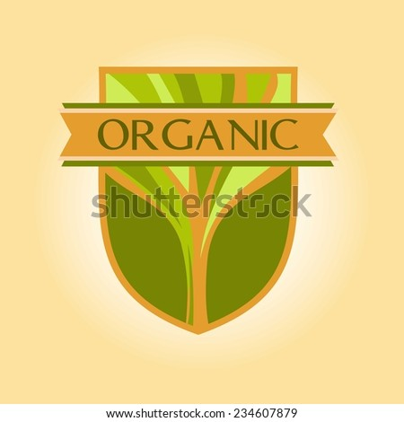 Vector logo for environmental goods, wood products. Organic, green. Protection of the environment and ecology. Organic. - stock vector