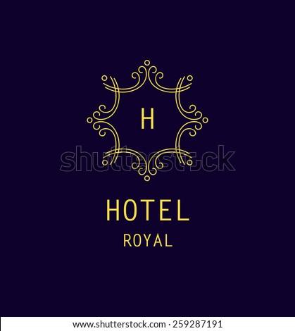 Vector logo for the hotel, the hotel business. Monogram. Outline logo - stock vector