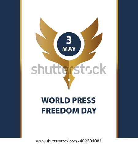 Vector logo for world day freedom press, sign for presentation event. Gold eagle on white background. - stock vector