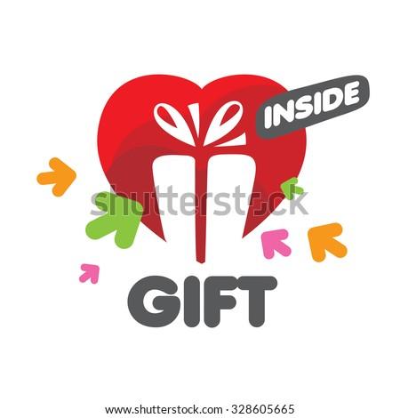 vector logo Gift Box and heart  - stock vector