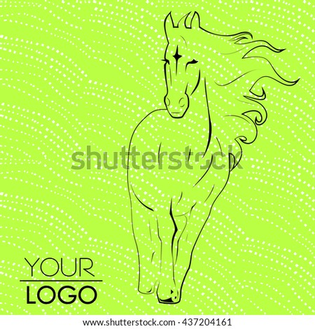 Vector logo Horse racing with mane on lime green abstract background