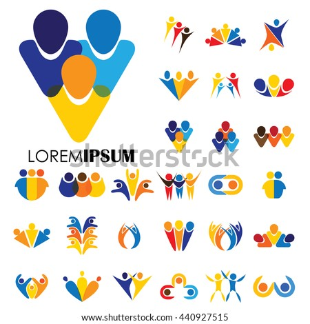 vector logo icon designs of people, children, friendship. this represents concepts like friends together, fun time, physical fitness & exercise, yoga & aerobics, team & teamwork, partnerships