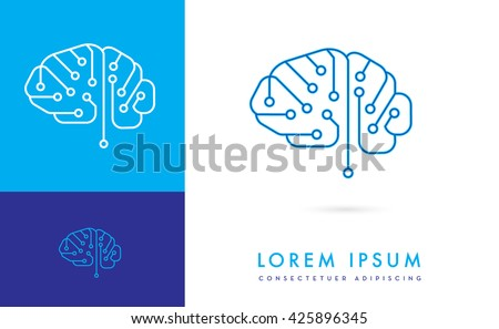 VECTOR LOGO / ICON OF A DIGITAL CIRCUIT INCORPORATED WITH A BRAIN - stock vector
