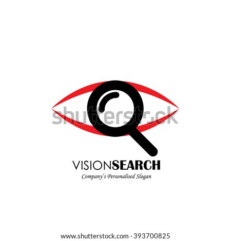 vector logo icon of eyes and search symbol. also represents deep observation, scrutinizing, perceive, secret agent, spy, detective, sleuth - stock vector