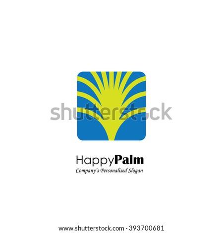 vector logo icon of palm tree on blue background. also represents exotic travel logo, tourism symbol, resort logo, spa retreat logo, etc - stock vector