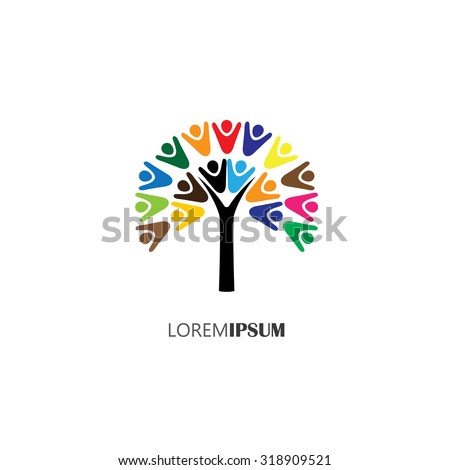 vector logo icon of tree with people. this can also represent teamwork, cooperation, togetherness, team, organization, employees, children - stock vector