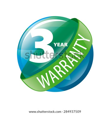 vector logo in the shape of a circle 3-year warranty - stock vector