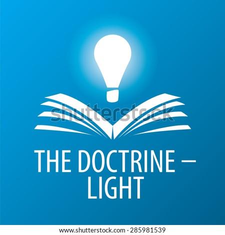 vector logo lamp illuminates book - stock vector