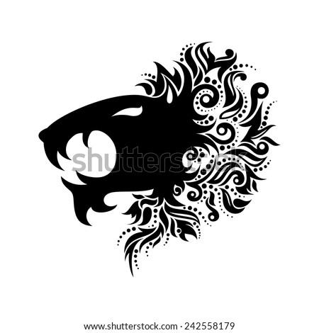 Vector Logo Lion Head. Patterned design - stock vector