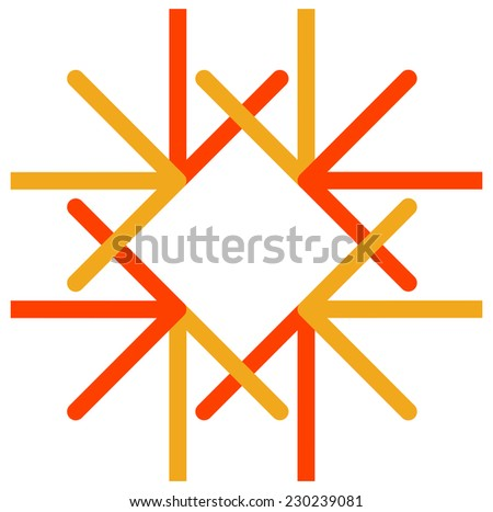 Vector logo of colorful arrows direct to one center point - stock vector