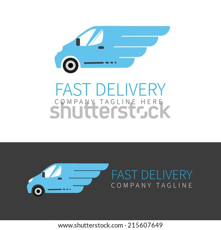 Vector logo of fast delivery van in two colors - stock vector