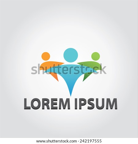 vector logo of people celebrating in a team - stock vector