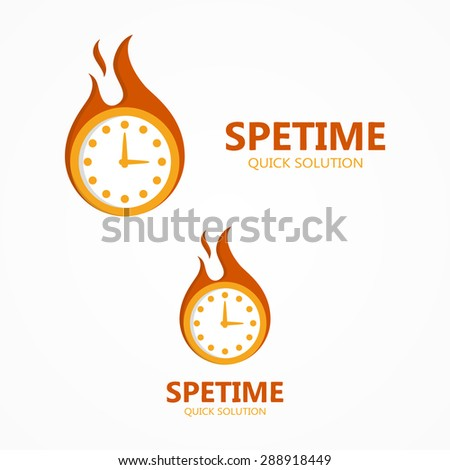 Vector logo or icon clock in a fire - stock vector