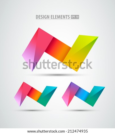 Vector logo origami icons. Design logo elements. Abstract  icons on white background - stock vector