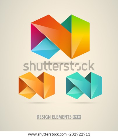 Vector logo origami infinity icon. Colorful abstract shapes design icons. - stock vector