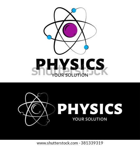 Vector logo physics. The atom and the electrons - stock vector