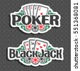 Vector logo Poker and Black Jack: playing cards four of kind aces for gambling game poker, chips for casino, card combination of seven 7 on geometric pattern background, lettering on blackjack theme.
