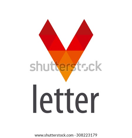 vector logo red letter V module - stock vector