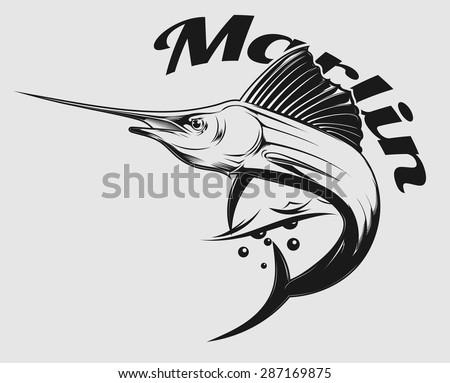 vector logo sea fishing with jumping Marlin or swordfish - stock vector