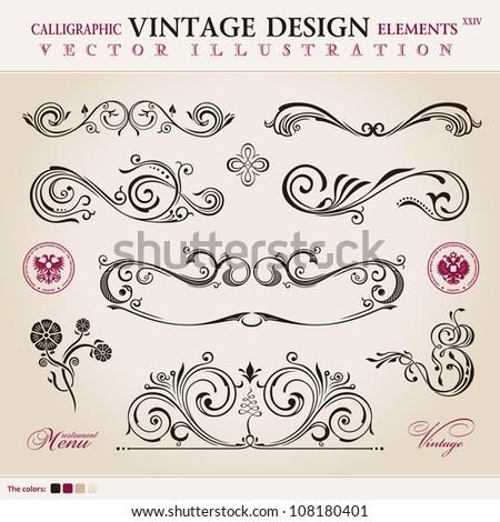 Vector logo set classic. Calligraphic design elements ornament decoration retro - stock vector