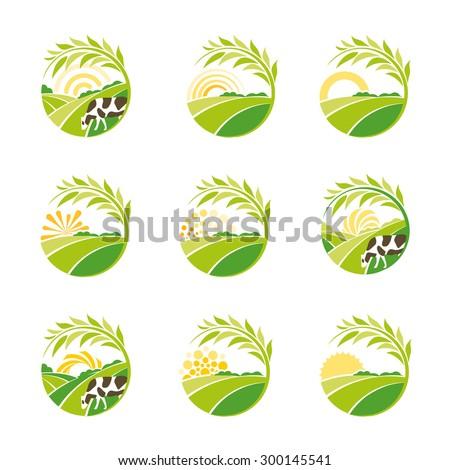 Vector logo set. Logo collection. Farm logo. Rural landscape logo. Environmental logos. Set of vector design logo elements. Green plantations logo. Natural logo. Eco logo.Cow logo.Food logo.Drink logo - stock vector