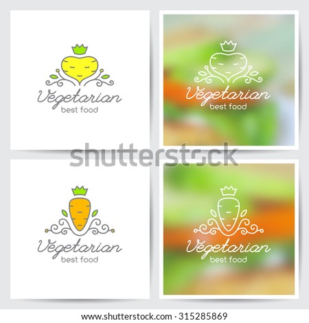 Vector logo set of carrot and turnip for vegetarian cafe or vegetables shop, variations on white and on blurred background - stock vector