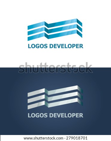Vector logo. Sign of the construction of a modern business center. Luxury office in the city center - stock vector