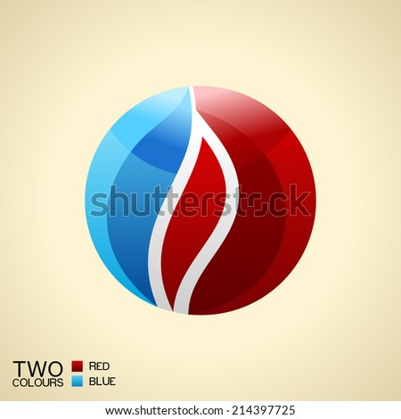 Vector logo symbol fire. Red and blue Round glass icon isolated - stock vector
