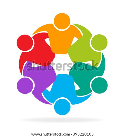 Vector logo teamwork concept of community,workers,unity,social networking,hug and friendship icon image template - stock vector