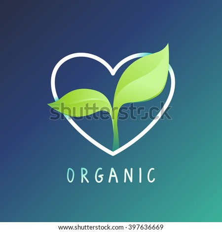Vector logo template and design element - organic emblem - heart shape with green leaves - stock vector