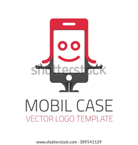 Vector logo template Case for mobile phone. Icon character mobile phone in the header. - stock vector