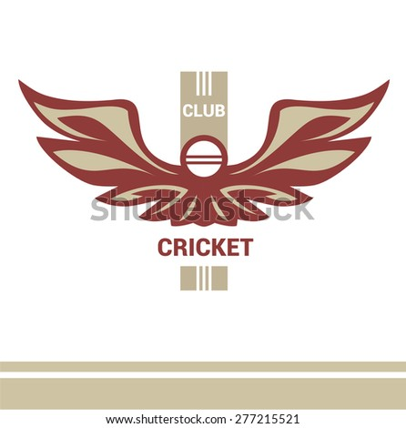 Vector logo template cricket club. Wings of a bird, an eagle in heraldic style. Isolated logo on a light background. Pitch, ball, wicket. - stock vector