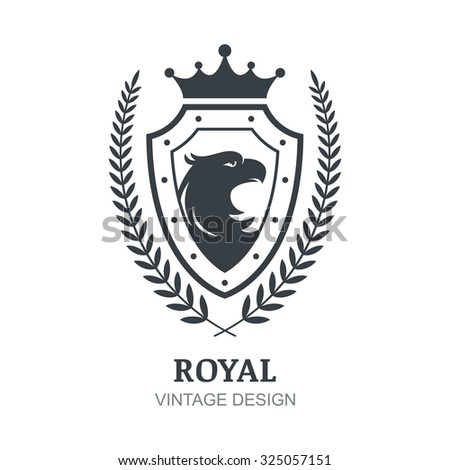 Vector logo template. Eagle, crown, shield and laurel branch symbol. Luxury decorative emblem for boutique, hotel, restaurant, heraldic. - stock vector