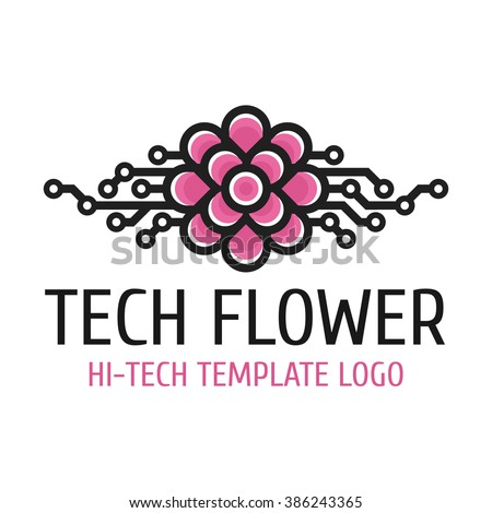 Vector logo template hi-tech development . Universal high-tech template logo flower. - stock vector