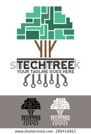 Vector logo template, Tech tree logo template, an elegant and modern logo of a pixelated and futuristic tree, with his electronic roots - stock vector
