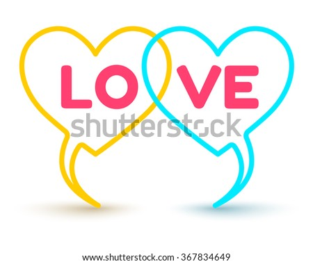 Vector logo two hearts for Valentine day - stock vector
