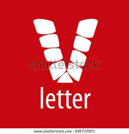 Vector Logo V letter from abstract modules - stock vector