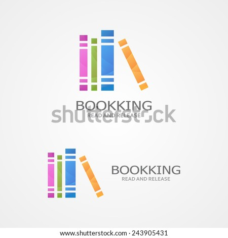 Vector logo with a colored books. - stock vector