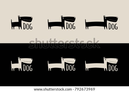vector logo with funny dog
