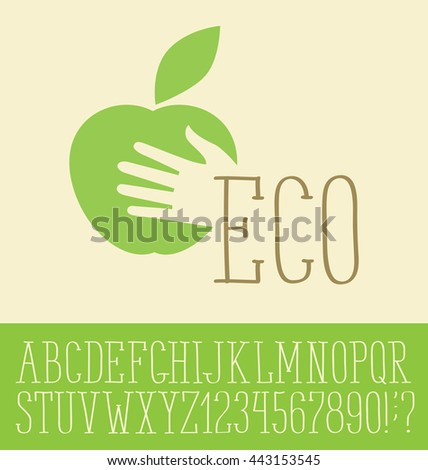Vector logo with hand made font. Apple with hand - stock vector